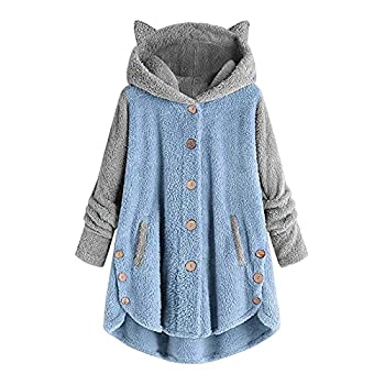 Women s Hoodies Coat Cat Ear Cap Plush Tops Fashion Loose Plus Size Button Long Sleeve Stitching Pullover Sweaters Blue