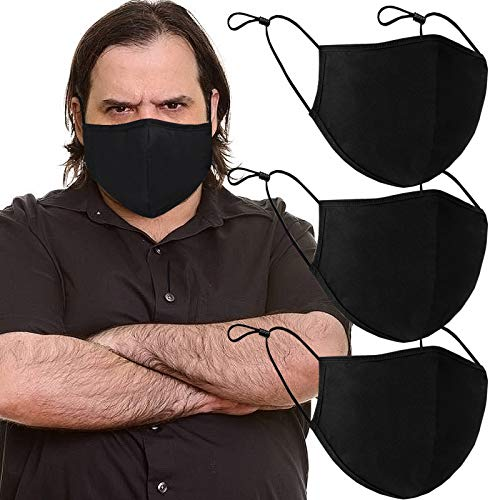 3 Pack Fashion Protective Face Covering, Mouth Covering Unisex Black Dust Cotton, Washable Reusable Cloth Dust Covering-XL Large
