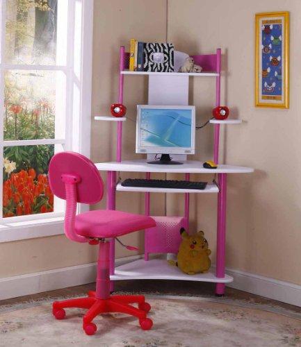 Kings Brand Pink Finish Corner Workstation Kids Children's Computer...