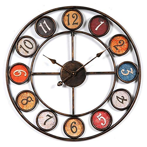 Lamyanran Home Silent Indoor Wall Clock Wall Clock,Non Ticking Digital Decorative Clocks, Vintage Arabic Numeral Design Rustic Numeral Windmill Quiet Wall Clock, for Home Office School
