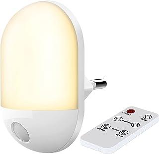 Veilleuse avec Télécommande, Veilleuse Bébé avec Minuterie, Lumière Chaude et Lumière Blanche, 3 Luminosités Réglables, Ve...