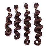 Dilla Beauty 4 Piezas Lot Sintético Loose Wave 16 18 20 pulgadas Extensiones de cabello Suelto Weave Cabello humano sintético # 4 Color (4 Piezas 16' 18' 20' 20')