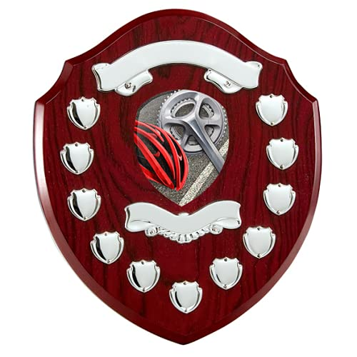 Trophy Monster 11 Year Cycling Rosewood Annual Shield   with Natural Birchwood Printed Centrepiece   Standard Emblem or Own Logo   Free Engraving   320mm