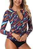 AXESEA Women Long Sleeve Rash Guard UPF 50+ UV Sun Protection Zip Front Swimsuit Shirt Printed Surfing Shirt Top Sunshine 10