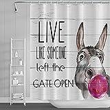 Leyiyi Lustiger Western-Duschvorhang mit rustikalem Holzbrett & niedlichem Esel mit Aquarell-Ballon