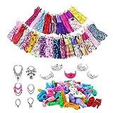Lot de 85 vêtements de poupée et accessoires pour poupée Barbie avec robes décontractées bracelet couronne boucles d'oreilles bandeau miroir , 46 pièces.