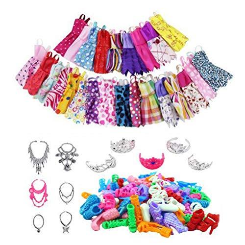 85 piezas de ropa de muñeca y accesorios para muñeca Barbie con vestidos casuales pulsera corona pendiente cabeza bandas espejo percha para niñas regalo de cumpleaños de Navidad, 46 unidades.