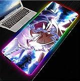 Alfombrillas de ratón Anime RGB Alfombrilla De ratón para Juegos LED Iluminación USB Luz De Fondo Alfombrilla De Ordenador con Arcoíris Teclado Alfombrilla De Escritorio Xxl-50x100x0.4cm
