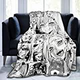 COZYLIFT Cozy Fleece Throws Blanket,Ahegao Keep Warm Mattress Pad,Convenient Comfortable Woollen Blanket for Family & Home Camping Dogs,50x40Inch