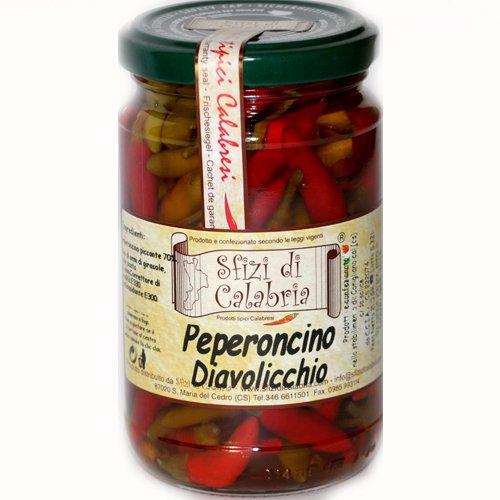 Peperoncino Calabrese Piccante Diavolicchio Intero sotto Olio 280g