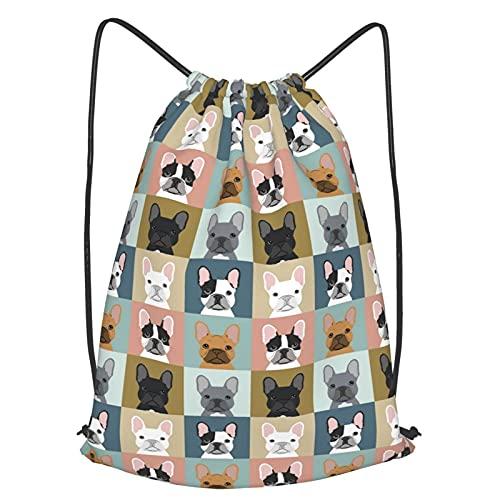 Drawstring Backpack for Men Women Girls Waterproof Sports Gym Bag, Large String Bag French Bulldogs Dog Sackpack 16.5 x 19.6 inch