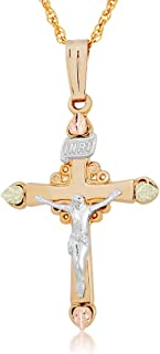 Christ is Risen Cross Necklace, 10k Yellow Gold, 12k Green, Rose Gold Black Hills Gold Motif, 18''