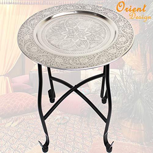 qm basic Orient TEETISCH Ø 40cm Silber verziert | Beistelltisch Couchtisch Kaffeetisch Wohnzimmertisch | Metall Hammerschlagoptik ü5ü 950
