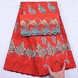 Nuevo diseño Cyan French 100% Cotton Lace Fabric African Swiss Voile Lace en Suiza para el vestido de boda nigeriano 5 + 2 yardas, como en la imagen