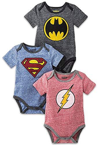 DC Comics Baby Boys' Onesies Bodysuit Newborn Infant Superman Batman The Flash Custome, 3Pack-Multicolor, 12 Months