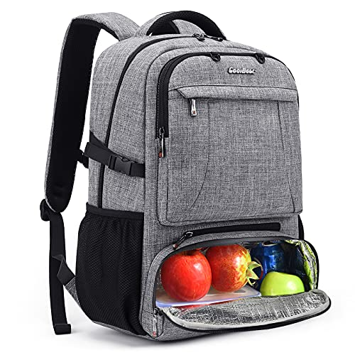 CoolBELL Lunch Backpack for Women Multi-functional Cooler Bags 15.6 Inches Laptop Backpack with Leak-proof Insulated Compartment / USB Port Travel Basketball Backpack for Business Work Men Women(Grey)