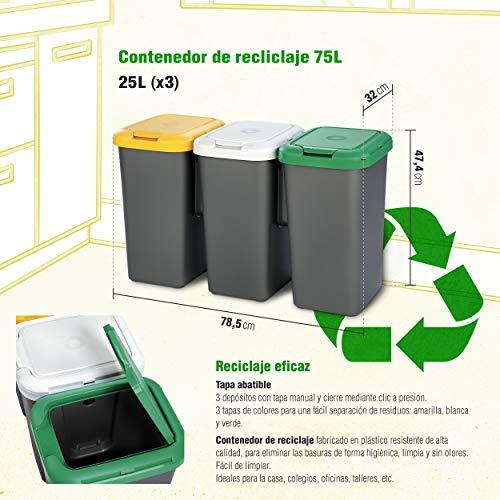 Productos Del Hogar Papelera Con 3 Depósitos