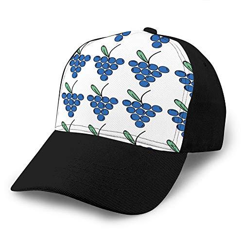 Sombrero clásico de algodón para papá Gorra Lisa Ajustable Gorra de béisbol de Mezclilla Personalizada para Adultos Fondo de Alimentos de Fruta y órgano de UVA Fresca Impresión Sombrero de Vaquero