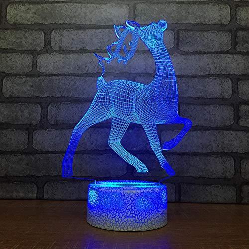 QHDHGR 3D Lámpara Luces de alce lampara de ilusion óptica 7 colores con control remoto, Decoracion led Visual Luz de noche para niños Cumpleaños Regalos