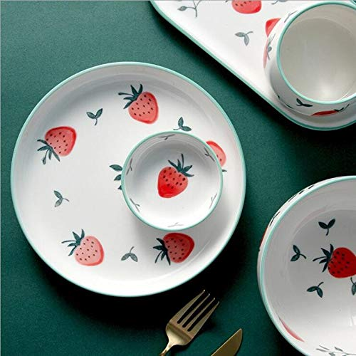 KJ Cute Strawberry Kitchen Ceramic Plate Tableware Set Food Dishes Rice Steak Salad Noodles Bowl Soup Kitchen Cook Tool 1pc