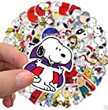 BLOUR Anime Snoopy Personalidad decoración Graffiti Pegatina Agua Skate Casco portátil Pegatina Impermeable 50 Uds