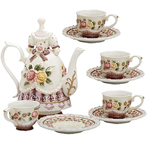 Tea Sets For Adults With Teapot Porcelain Tea Sets Tea Cup And Saucer British Royal Coffee Tea Sets For Afternoon Princess Gift For Women Girl