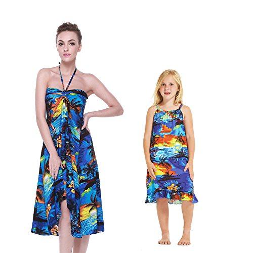 Hawaii Hangover Luau Hawaiano a Juego Vestido de la túnica de la Mariposa de la Hija de la Madre en Puesta de Sol Azul S-8