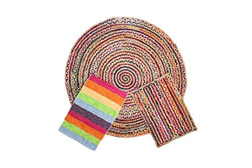 Alfombra Yute Multicolor Redonda (Ø 90 cm.) Pack alfombras de Yute Circular + Rectangular + Jarapa de la Alpujarra, Tejidas a Mano - Salón, Cocina, Dormitorio, Pasillo, jardín