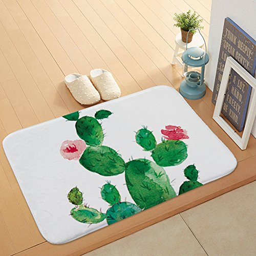 Morbuy Hochflor Flanell Shaggy Schmutzfangmatte Teppich Flamingo Anti-Rutsch-Bequeme Badematte Badezimmer-saugfähiger Duschteppich (Blühender Kaktus)