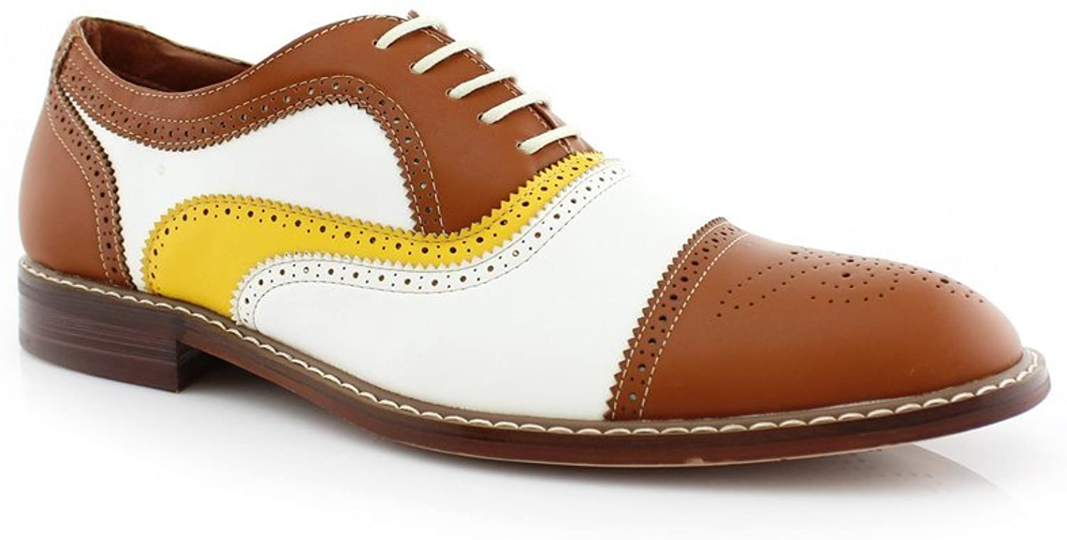Ferro Aldo MFA-19355 Men's Brown Yellow White Perforated Lace Up Dress Classic Oxford shoes