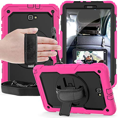 Samsung Galaxy Tab A 10.1 inch Case 2016 with Built-in Screen Protector / 360 Degree Swivel Kickstand/Hand Strap Shoulder Strap SM-T580 case, 3 Layer Shockproof Silicone Tablet Cover for for Kids.