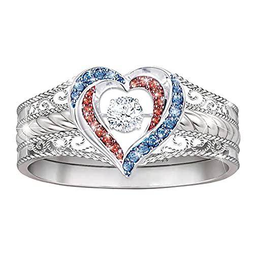 Younoo1 - Anillo de mujer con diamantes en forma de corazón, anillo de compromiso, anillo de boda para mujer, bisutería para boda, compromiso, regalo de cumpleaños