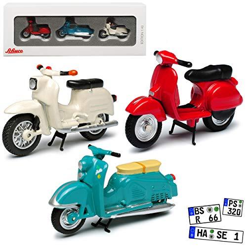 3er Set aus Simson Schwalbe KR51 Zündapp Bella und Vespa PX 1/43 Schuco Modell Motorrad