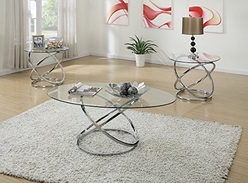 Poundex Occasional Table Set with Spinning Circles Base Design, Multi