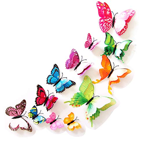 Baanuse Butterfly Stickrs, 3D Butterflies DIY Wall House Decoration Babyroom, 12 PCS