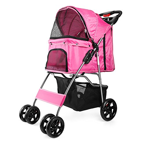 professional Flexzion Stroller (Pink) Dog Cat Small Animal Carrier Cage 4 Wheel Folding Flexible Simple…