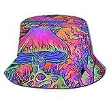 Stylish Home Sombrero unisex reversible plegable para hombre y mujer, de setas psicodélicas, para playa, pescador, doble cara, reversible