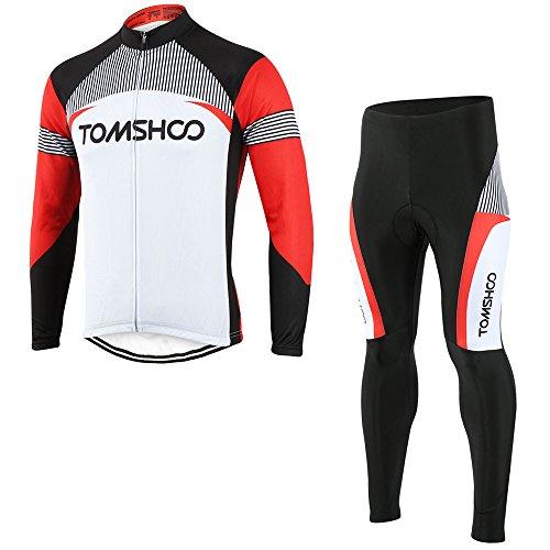 TOMSHOO Maillot de Ciclismo para Hombre Conjunto de Jersey de Manga Larga y 3D Gel Pantalones Cómodo Respirable Secado Rápido Ropa de Ciclismo para Bicicleta de Montaña Primavera y Otoño