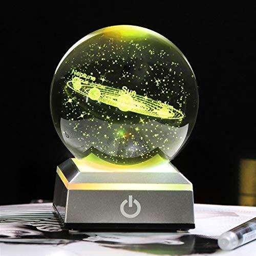 NBKLSD 3D K9 Crystal Solar System Ball 8 cm Galaxie Muster Kugel LED-Lichtbasis für Bälle für Häuserdekoration (Color : White LED Base, Size : 8 cm)