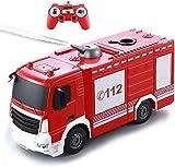 Bck 1:26 Escala Firetruck Rescue Vehicle One-Button Water RC Juguetes Fire Motor Truck 2.4GHz Remoto Eléctrico Firetruck Simulación for 2+ años de Edad, niños con Luces y Sonidos