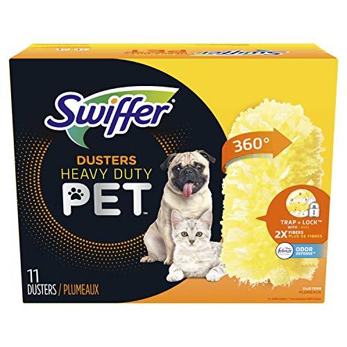 Swiffer 360 Dusters Multi Surface Pet Refills, Ceiling Fan Duster, Febreze Odor Defense, 11 Count
