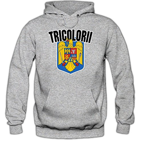Shirt Happenz Rumänien WM 2018#4 Kapuzenpullover | Fußball | Herren | Trikot | Tricolorii | Nationalmannschaft, Farbe:Graumeliert (Greymelange F421);Größe:S