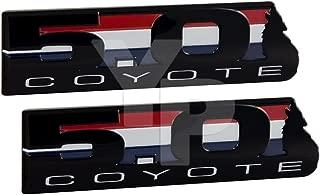 Coyote Engine V8 5.0L Howling Black Emblems - Pair