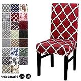 LiveGo, coprisedia elasticizzato per sedie da pranzo, con schienale alto, protezione per sedie per sala da pranzo, matrimoni, banchetti e feste, A-red, 4 pezzi