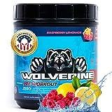 American Gym Warrior Wolverine Pre Workout | All-Natural Caffeine & Stim Free | Boost Energy, Focus, Strength, Endurance, Pump, No Crash | 40 Servings for Men Women | Raspberry Lemonade