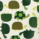 Cremefarbenes Wachstuch mit grünen Schildkröten