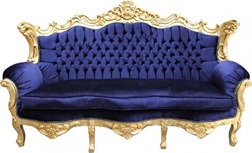 Barock Sofa Master Royal Blau/Gold - Wohnzimmer Möbel Couch Lounge