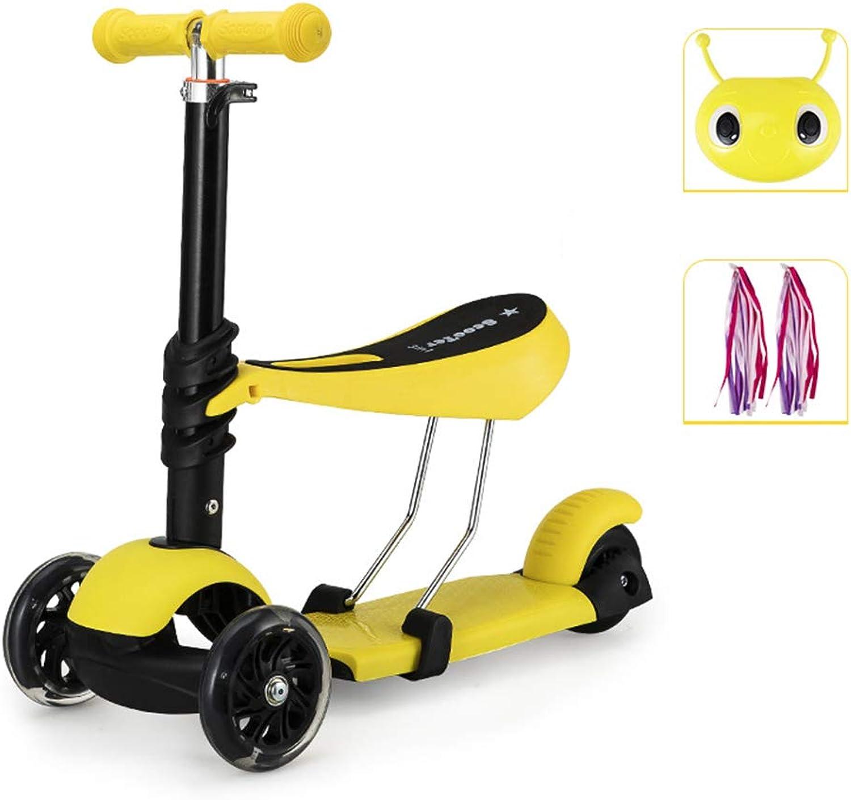ahorre 60% de descuento WYFDM Scooter Scooter Scooter de Niño, 3 Ruedas 3-en-1 Micro Mini Kick Scooter con Asiento extraíble, Rueda de Flash magnética Resistente al Desgaste y Manillar Ajustable para Niños,A2  excelentes precios