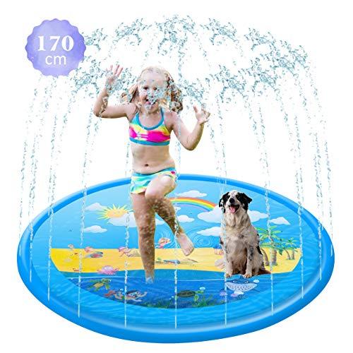 GWHOLE 170cm Almohadilla Inflable de Aspersores Juguetes Verano para niños, Splash Sprinkler Pad Piscina para Bebé,Juguetes Estera de Agua al Aire Libre