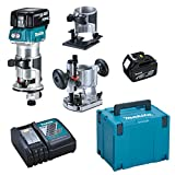 MAKITA DRT50RTJX2 Fresadora Multifunción 18V Litio-Ion 6 Y 8 Mm, 18 V, Negro